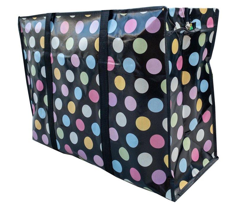 Big Shopper met rits - 70 x 50  cm - Stippen- Zwart