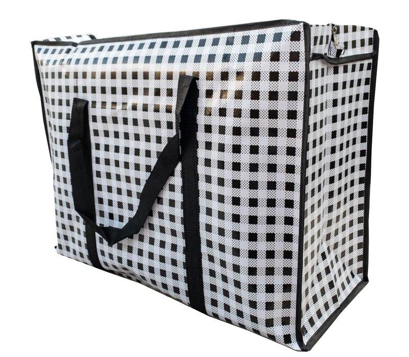 Big Shopper met rits - 70 x 50  cm - Geruit - Zwart