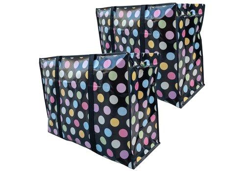 MixMamas Big Shopper met rits - 70 x 50  cm - Stippen Zwart -Set van 2