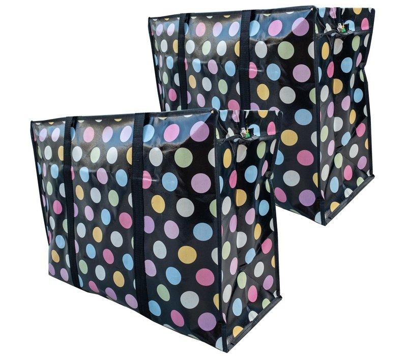 Big Shopper met rits - 70 x 50  cm - Stippen Zwart -Set van 2