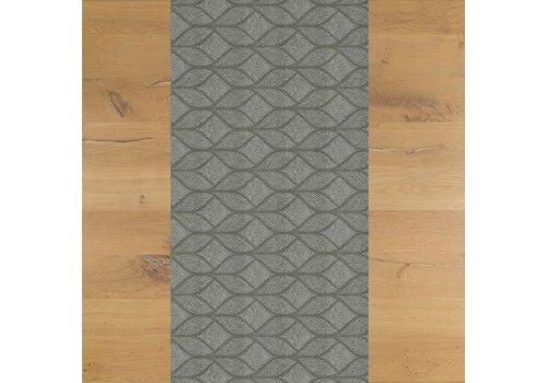 MixMamas Tafelloper Gecoat Ogee- 140 x 45 cm- Laurier grijs