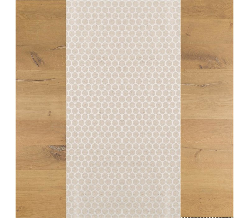 Tafelloper Gecoat Jacquard Linnen Stippen - 140 x 45 cm- Beige/Crème