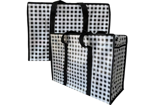 MixMamas Big Shopper met rits M - 50 x 35 cm - Ruitje- Zwart - Set2
