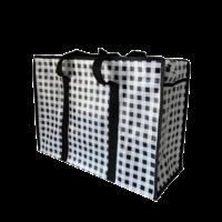 Big Shopper met rits set M & XL Ruitje- Zwart - Set2