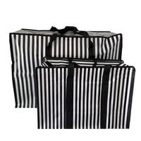 Big Shopper met rits set M & XL Strepen- Zwart - Set2