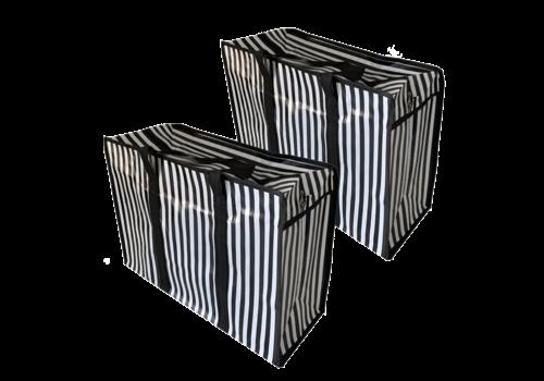MixMamas Big Shopper met rits M - 50 x 35 cm - Strepen- Zwart - Set2