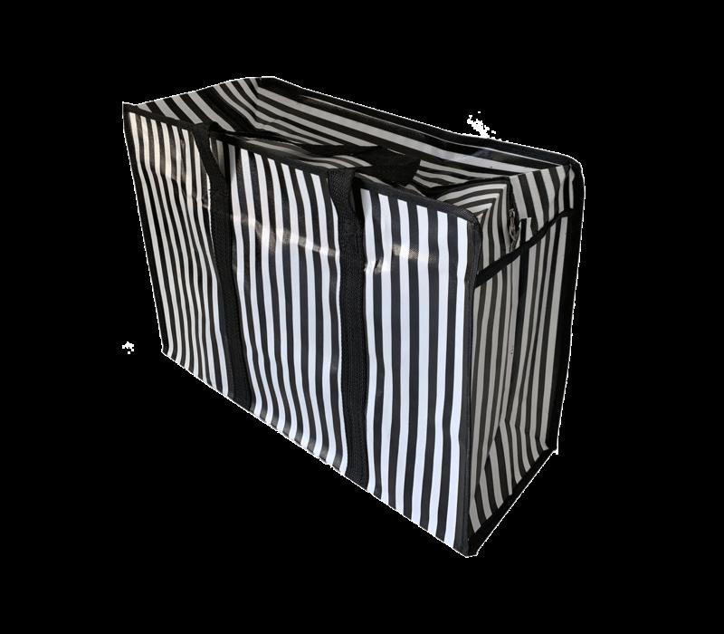 Big Shopper met rits M - 50 x 35 cm -Strepen- Zwart