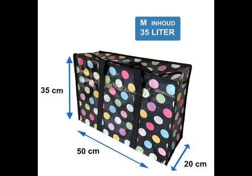 MixMamas Big Shopper met rits M - 50 x 35 cm - Stippen - Zwart
