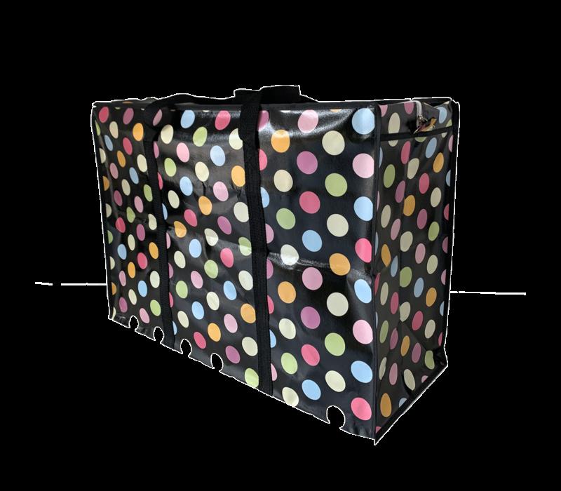 Big Shopper met rits M - 50 x 35 cm - Stippen - Zwart