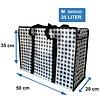 MixMamas Big Shopper met rits M - 50 x 35 cm - Ruitje - Zwart