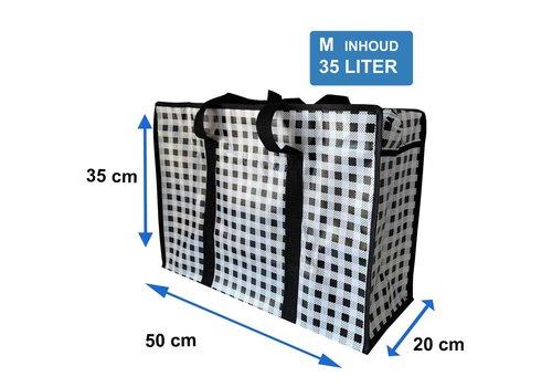 MixMamas Big Shopper met rits M - 50 x 35 cm - Ruitje- Zwart
