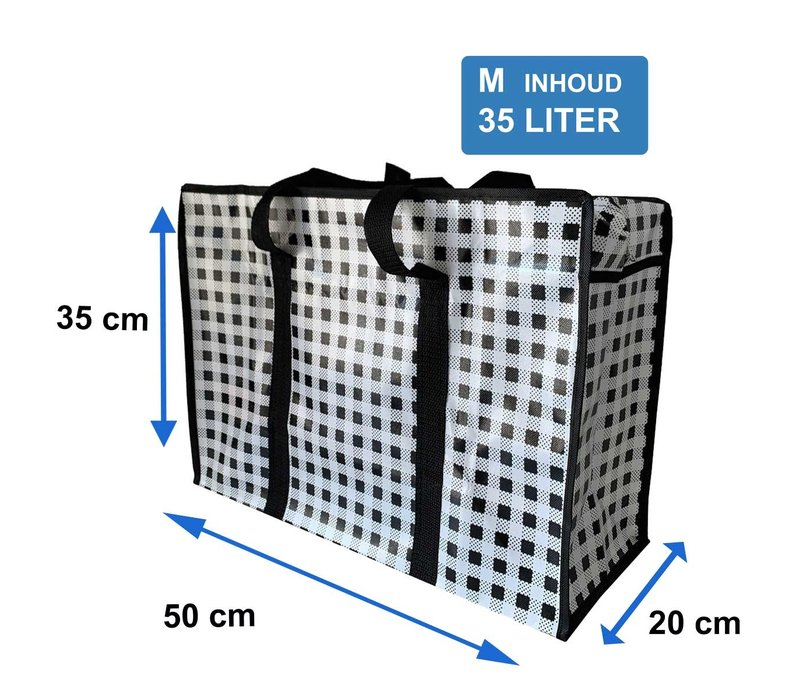 Big Shopper met rits M - 50 x 35 cm - Ruitje - Zwart