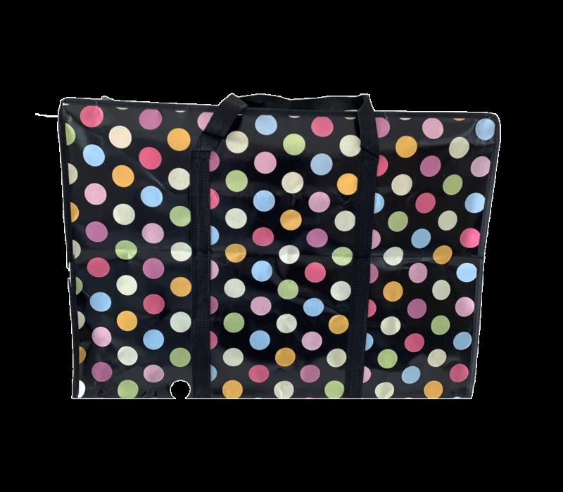 Big Shopper met rits M - 50 x 35 cm -Stippen- Zwart - Set2