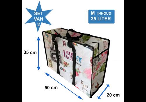 MixMamas Big Shopper Medium met rits - 50 x 35 cm -Paris - Set2