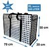 MixMamas Big Shopper met rits -70 x 50 cm - Ruit - Zwart -Set van 2
