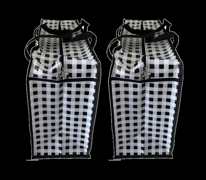 Big Shopper met rits -70 x 50 cm - Ruit - Zwart -Set van 2