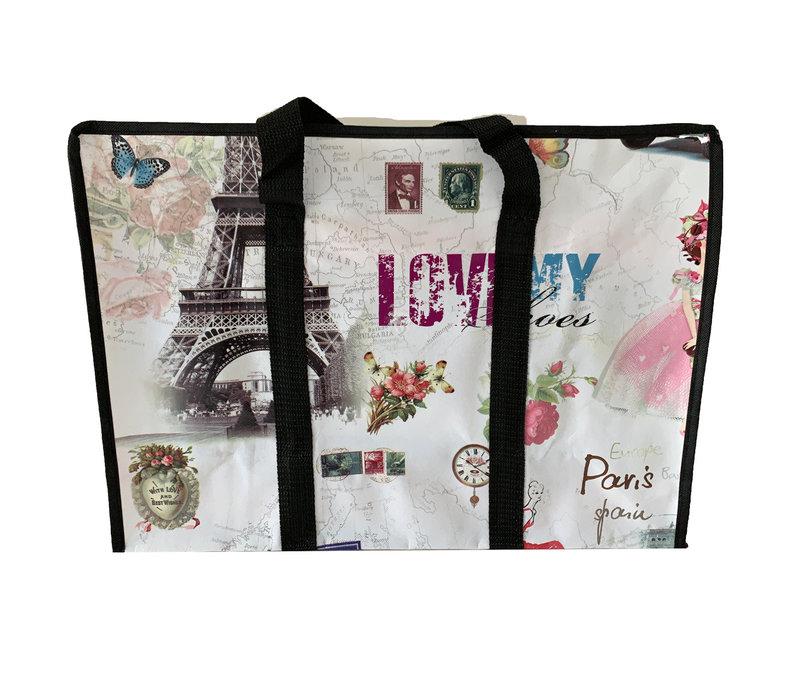 Big Shopper met rits -70 x 50 cm - Paris -Set van 2