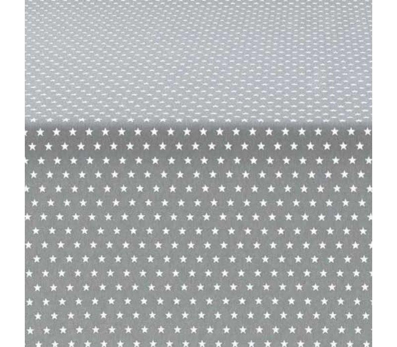 Rond Tafelkleed Gecoat - Ø 160 cm - Sterren - Grijs / Wit