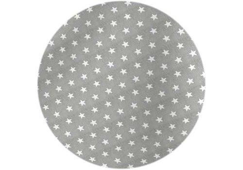 MixMamas Rond Tafelkleed Gecoat - Ø 160 cm - Sterren - Grijs / Wit
