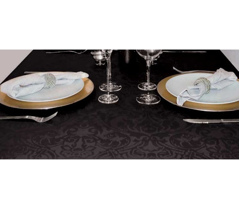Tafelkleed Gecoat Barok – 140 x 250 cm – Zwart