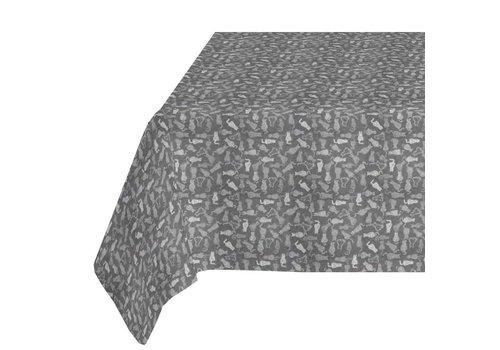 MixMamas Tafelkleed Gecoat Jacquard - 140 x 250 cm - Katten - Grijs
