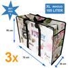 MixMamas Big Shopper / Opbergtas / Waszak XL Modern - 70 x 50 cm - Paris -Set van 3