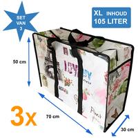 Big Shopper / Opbergtas / Waszak XL Modern - 70 x 50 cm - Paris -Set van 3