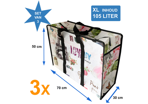 MixMamas Big Shopper met rits XL 70 x 50 cm - Paris -Set van 3