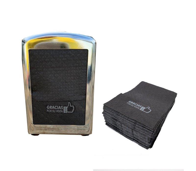 Dispenser Servetten - Navulling servethouder 100 stuks Zwart