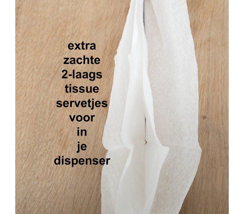 Dispenser Servetten - Navulling servethouder 100 stuks Wit t