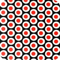 Tafelzeil 140 x 250 cm - Oogjes - Zwart/Rood