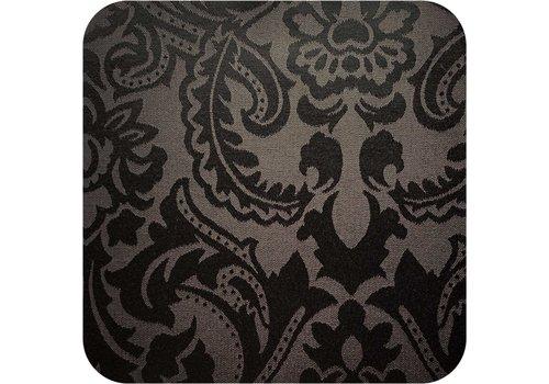 MixMamas Vierkant Tafelkleed Gecoat Jacquard - 180 cm - Barok - Zwart