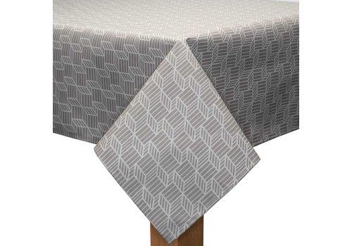 MixMamas Tafelkleed Gecoat Kubussen - 140 x 250 cm - Beige/Wit