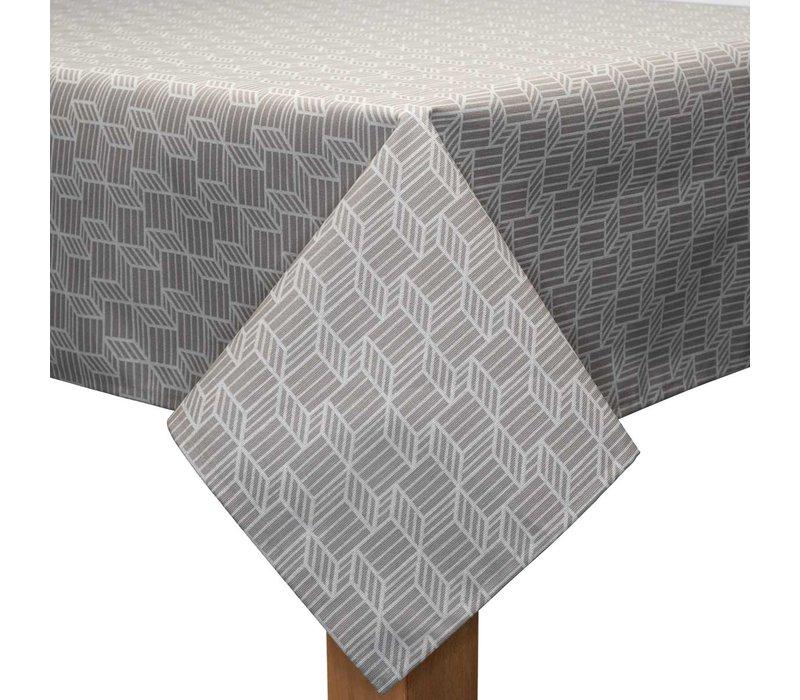 Tafelkleed Gecoat Kubussen - 140 x 200 cm - Beige/Wit