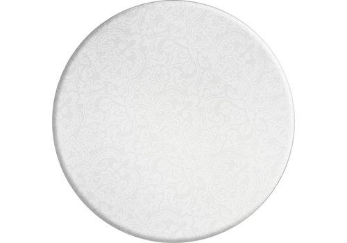 MixMamas Rond Tafelkleed Gecoat Jacquard - Ø 160 cm - Barok Roomwit