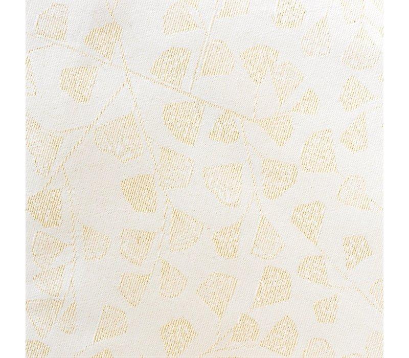 Rond Tafelkleed Gecoat - Ø 160 cm - Blaadjes Wit/Goud