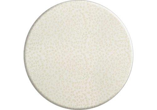 MixMamas Rond Tafelkleed Gecoat - Ø 160 cm - Blaadjes Wit/Goud