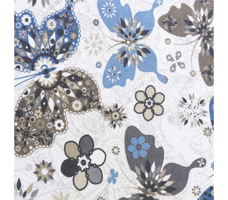 Rond Tafelkleed Gecoat - Ø 160 cm - Vlinders Blauw Beige