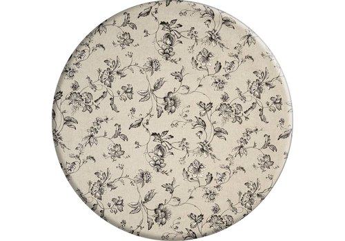MixMamas Rond Tafelkleed Gecoat - Ø 160 cm - Floral2 - zwart