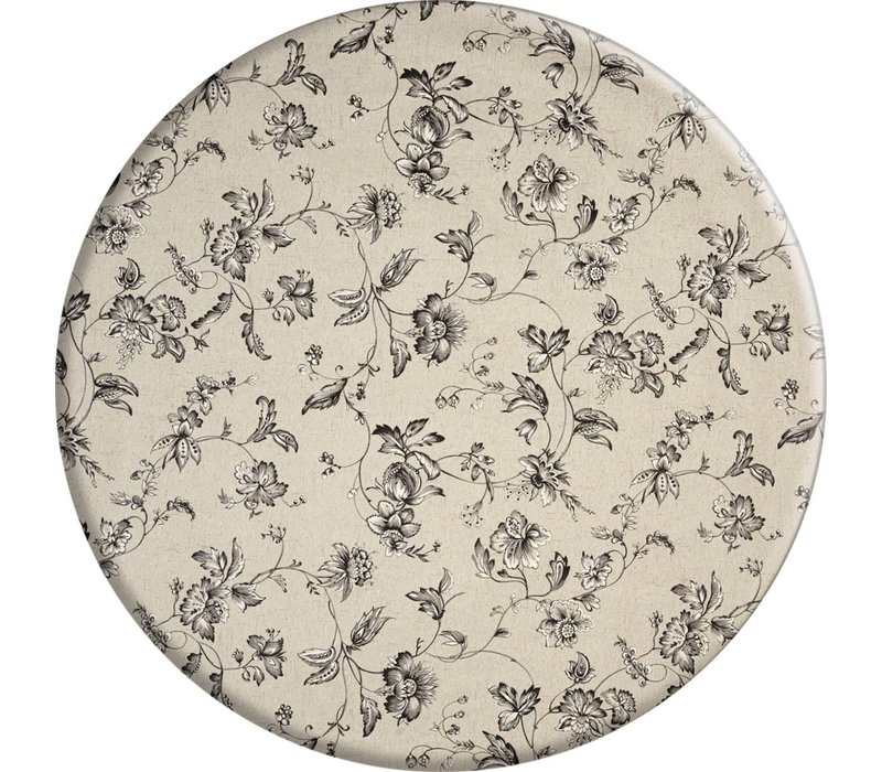 Rond Tafelkleed Gecoat - Ø 160 cm - Floral2 - zwart