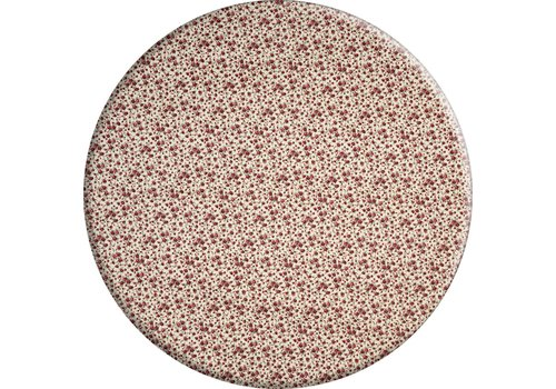 MixMamas Rond Tafelkleed Gecoat - Ø 160 cm - Roosjes Granaat rood