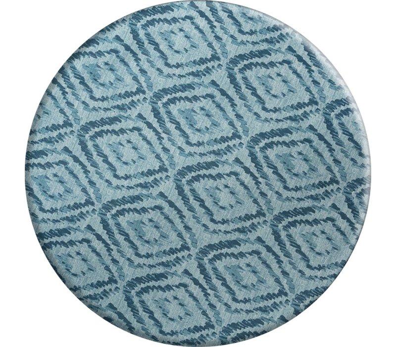 Rond Tafelkleed Gecoat - Ø 160 cm - Grote etnische ruit - Blauw