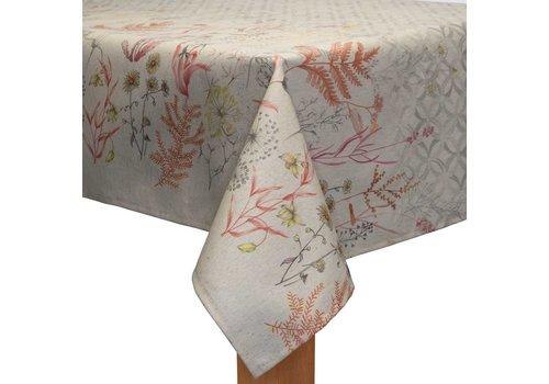 MixMamas Tafelkleed Gecoat - 140 x 250 cm - Subtile Borders Beige/Oranje/roze