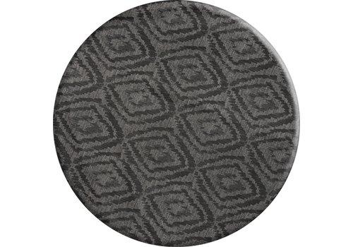 MixMamas Rond Tafelkleed Gecoat - Ø 160 cm - Grote etnische ruit - Zwart