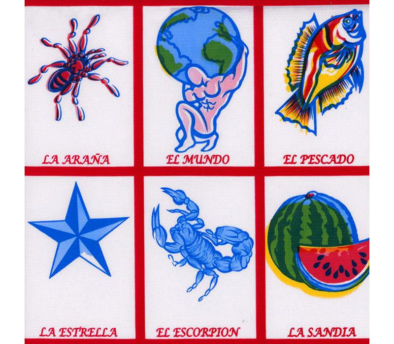 Mexicaans Tafelzeil Lotería - 120 x 200 cm - Rood