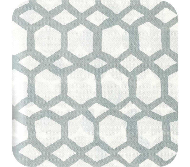 Tafelzeil 140 x 250 cm - Hexagonal-layers-Wit/Grijs