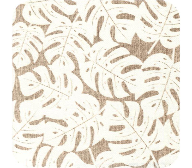 Tafelzeil 140 x 250 cm - Monstera Taupe/Wit