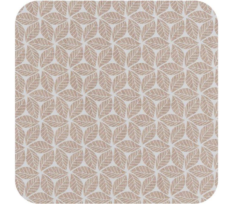 Vierkant Tafelzeil - Ø 140 cm - Graphic-leaves-taupe