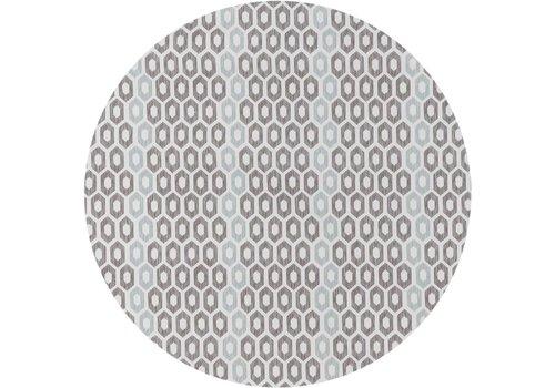 MixMamas Rond Tafelzeil - Ø 140 cm - Honingraat - Hexagon - Zwart/Blauw