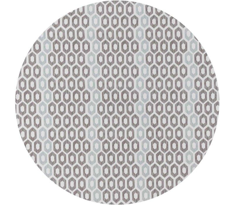 Rond Tafelzeil - Ø 140 cm - Honingraat - Hexagon - Zwart/Blauw